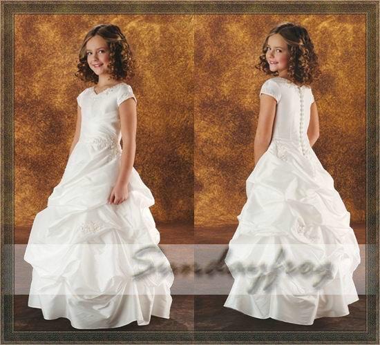 Free Shipping Custom Made A-Line Ruffle Embroidery Flower Girl Dress Floor-length Taffeta First Communion Party Dress -FL66