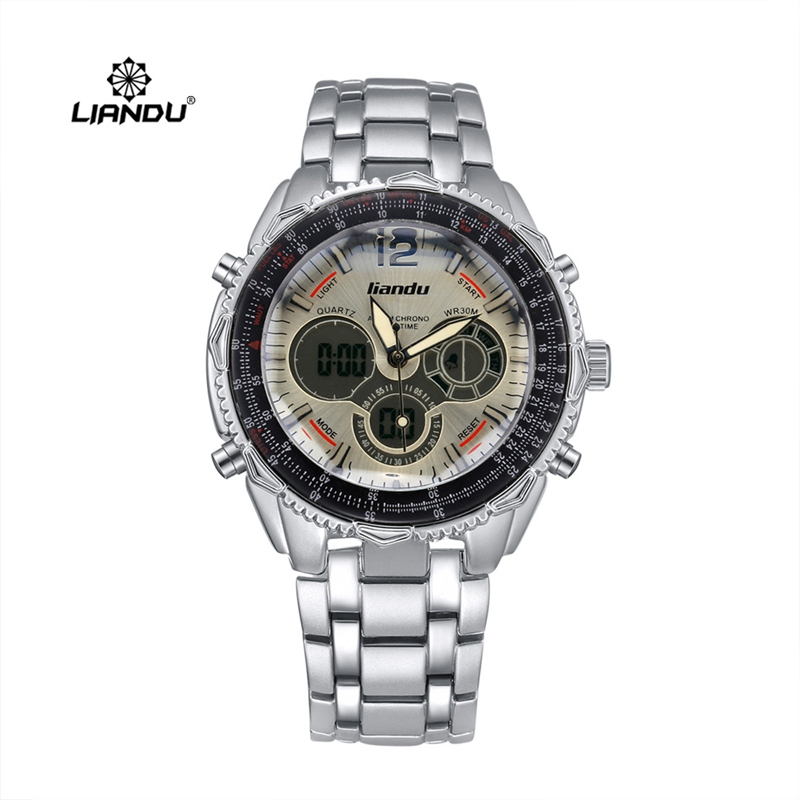 analog and digital display quartz liandu brand