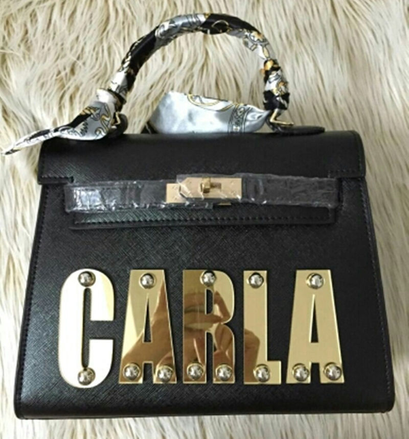 Ladies' Fashion Brand Name Bags PU Leather Customizable with Personal Name 3 Sizes 12 Colours(China (Mainland))
