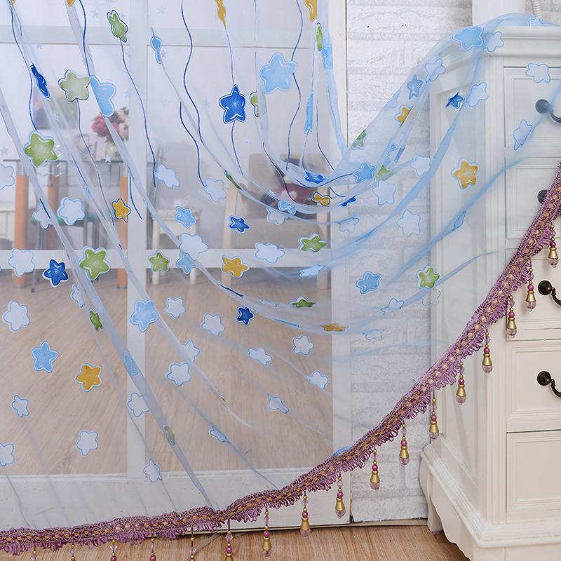 Wholesale Stars Beads Tassel Sheer Room Door Curtain Voile Window Scarf Drapes(China (Mainland))