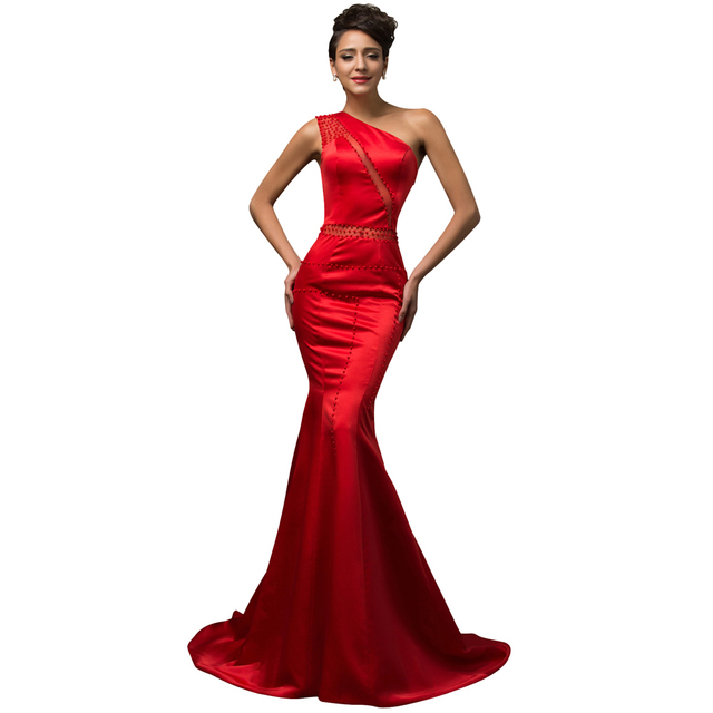 Красный Одно Плечо Вечернее Платье 2016 Новый Грейс Карин Бисероплетение See Through ...