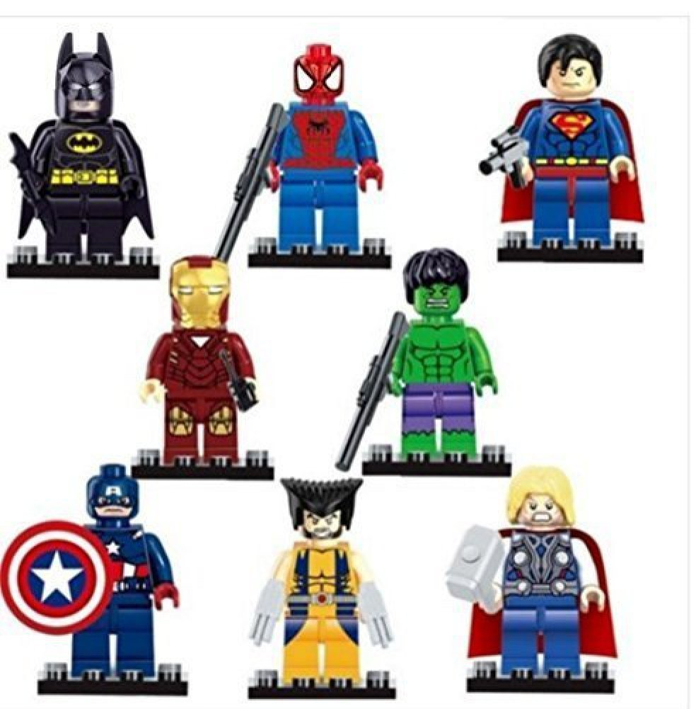 Building Block figure 8Pcs Avengers Marvel DC Super Heroes Batman Spiderman Iron man Hulk Minifigures Toys compatible with lego(China (Mainland))