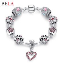 Bracelets For Women Tibetan Silver Plated&Crystal Heart Charm Bracelet&Bangle With CZ Diamond Bracelet Jewelry Pulseira PS3113(China (Mainland))