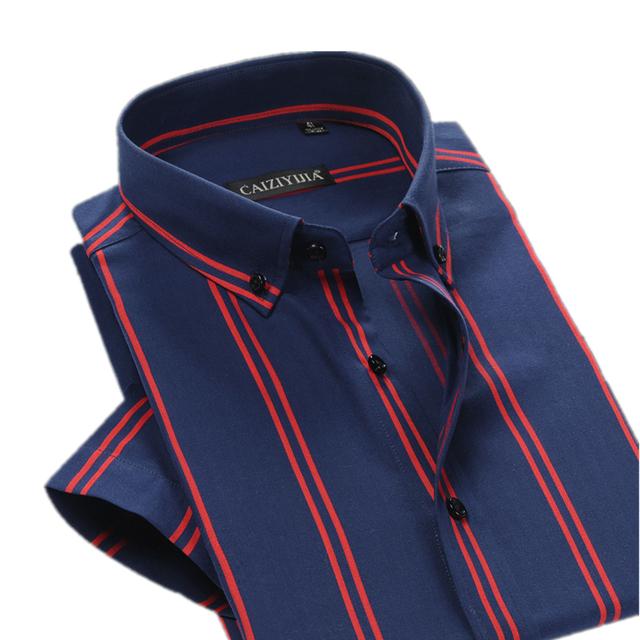 Бренд британский стиль полосатой рубашке мужчин с коротким рукавом свободного покроя ...