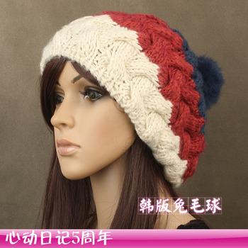 Rabbit fur ball wool blending handmade women's winter hat thermal knitted free shipping A