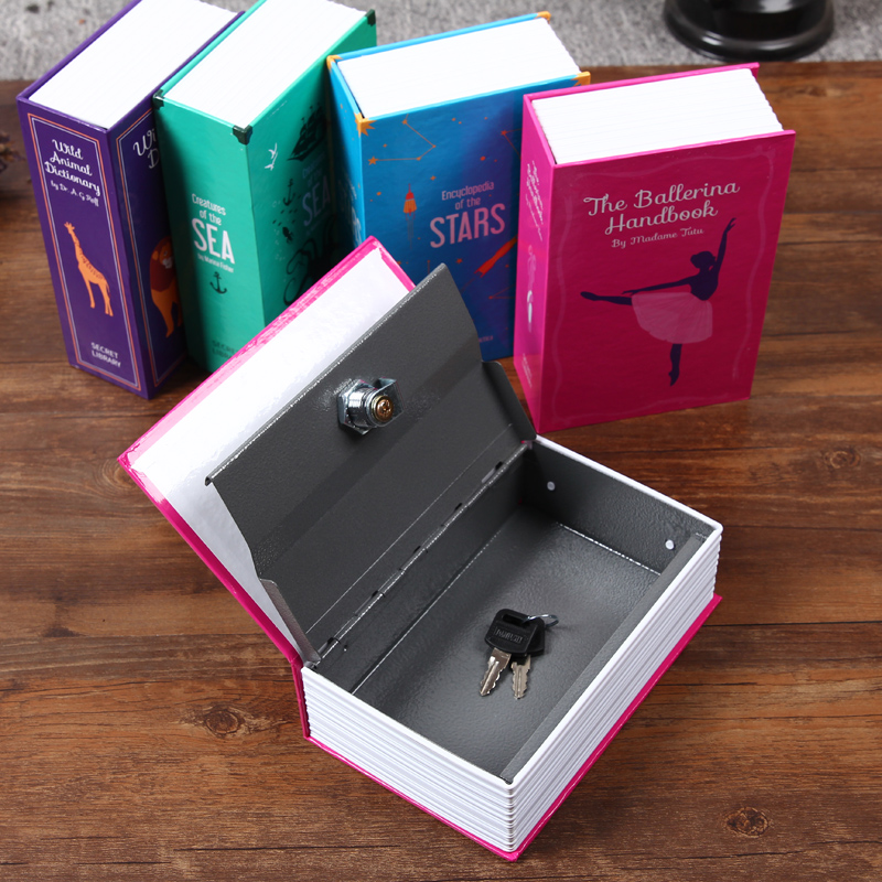 New Cover Book Secret Hidden Security Safe Box Lock With Key Cash Money Jewelry Box Orgnizer 4 Colors Free Shipping(China (Mainland))