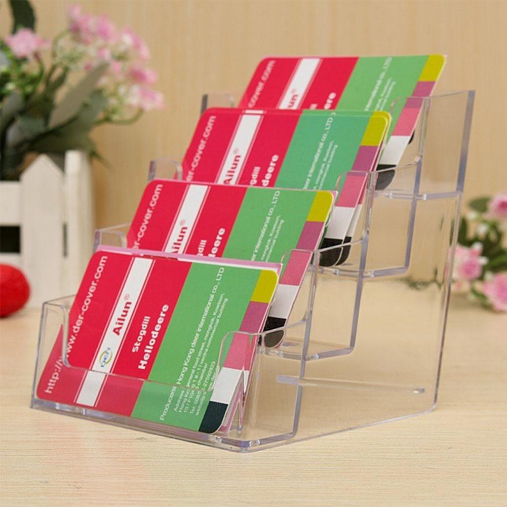 4 Layers Pocket Display Stand Acrylic Plastic New Clear Desktop Business Card Holder Desk Shelf Box Storage 2016 Hot Sale(China (Mainland))