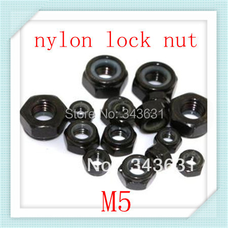 High Quality  DIN985 M5  Carbon Steel With Black Znic Plated  Nylon Lock Nuts ( 100pcs/lot)<br><br>Aliexpress
