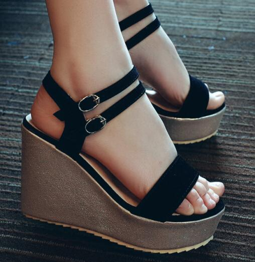 ENMAYER sale Sandals Sexy Buckle Strap Nubuck Leather Wedges Sandals black High-heeled Platform Summer shoes for women Sandals<br><br>Aliexpress
