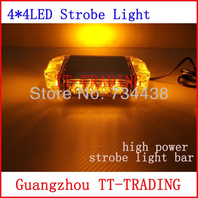 Vehicle roof Strobe Lights 16LED Warning light emergency strobe beacon led mini light bar with magnet DC12V red blue white amber(China (Mainland))