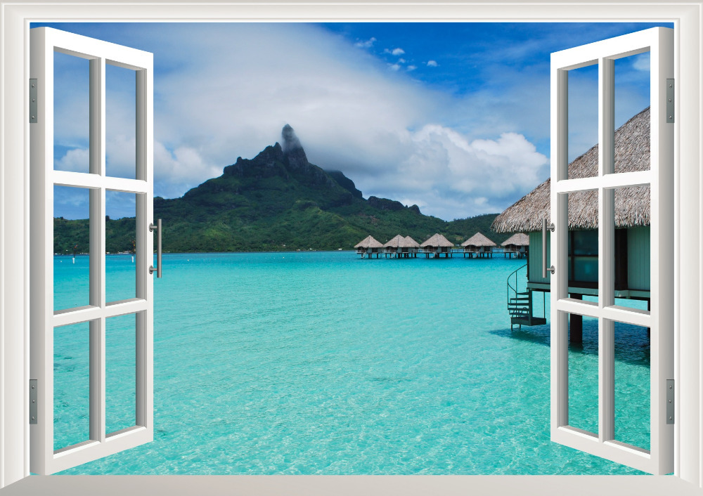 Beach resort 3d window view removable wall art sticker for Beach window mural