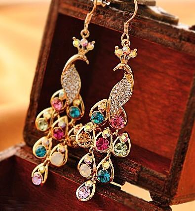 Гаджет  Free shipping (Min order $10)2013 Fashion accessories delicate  peacock vintage multicolor bohemian drop earrings None Ювелирные изделия и часы