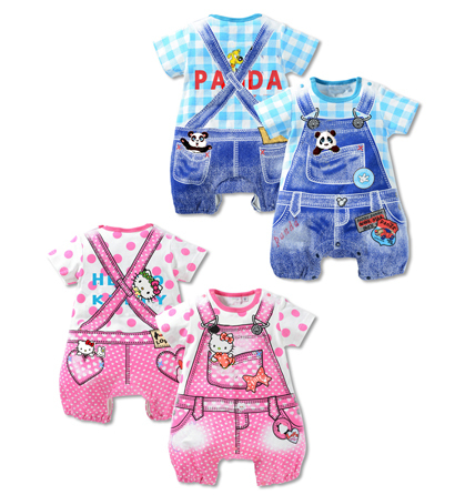 2015 new summer baby girl romper baby boys clothes hello kitty cat panda dot Strap short-sleeved one pieces Jumpsuit clothing(China (Mainland))
