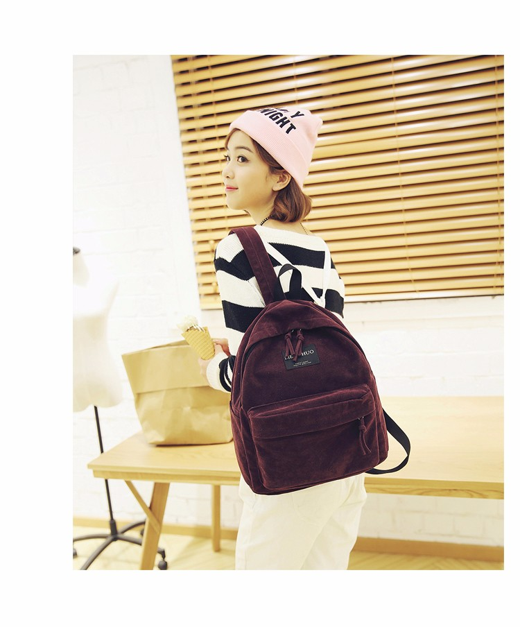 2016 New Women Backpack Preppy Style Suede Backpacks Teenage Girls School Bags Vintage Rivet Travel Backpack Burgundy Gray Black (22)