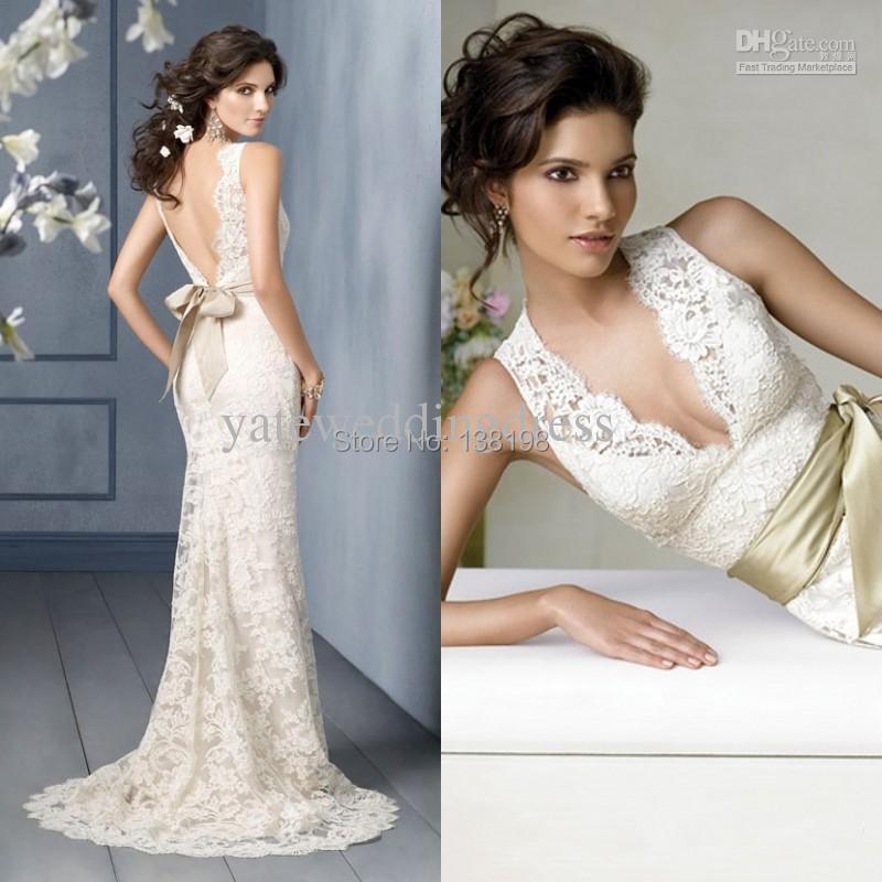 Fall elegant v neck ivory lace mermaid garden wedding for Lace v neck backless wedding dress