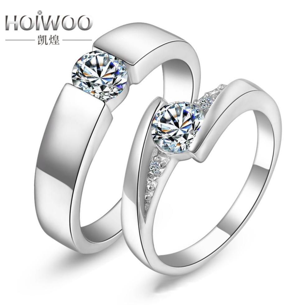 Fashion Engagement CZ Imitation Diamond Rings Sets For Loverspure 925 Sterling Silver Rings For