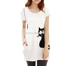Women Round Neck Short Sleeve Cat Prints Loose Tunic Shirt Loose White Discount 40(China (Mainland))