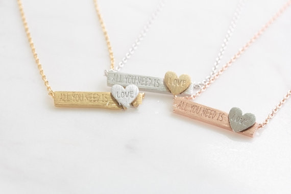 2015 Minimal Women Accessories Jewelry Gold Plated All You Need is Love Loving Heart Stainless Steel Statement Necklace(China (Mainland))