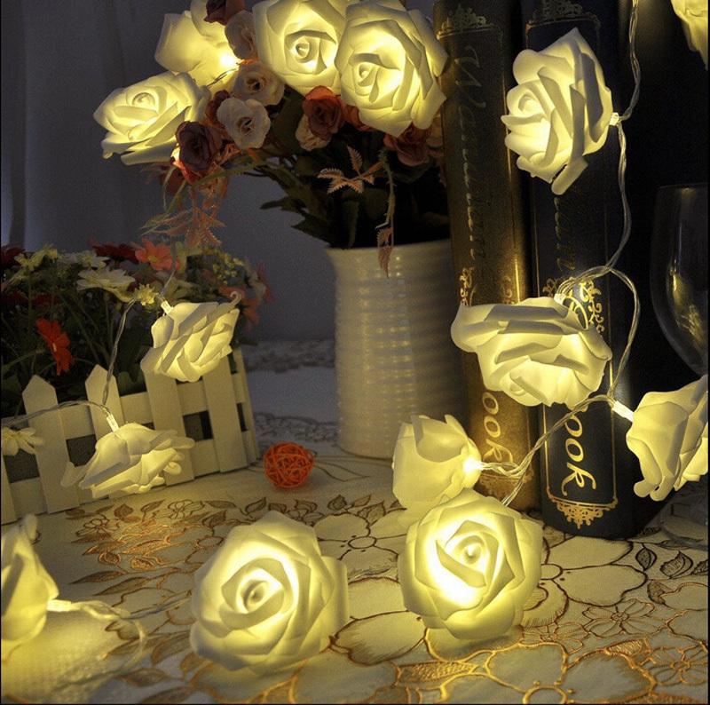 2015 NEW 20 LED Festival Rose String holiday Light Fairy Lights Christmas Party wedding decoration(China (Mainland))