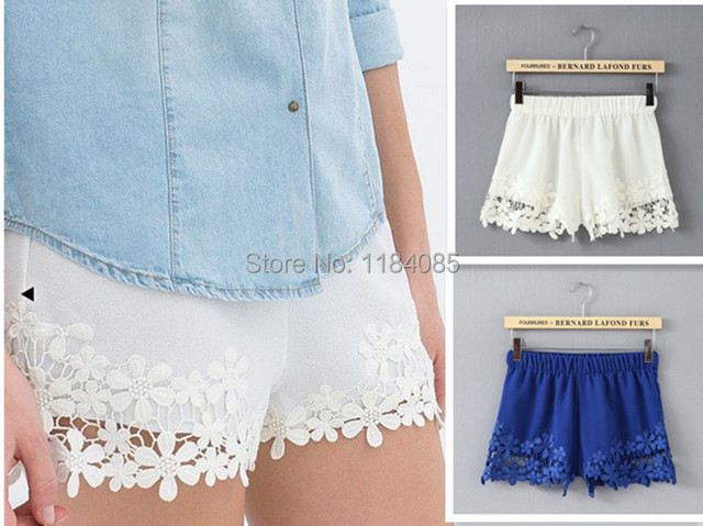 New Fashion 2015 Spring/Summer Women Lace Shorts Elasti Waist Girl Crochet Lace Floral Shorts White/Black/Blue Free Shipping
