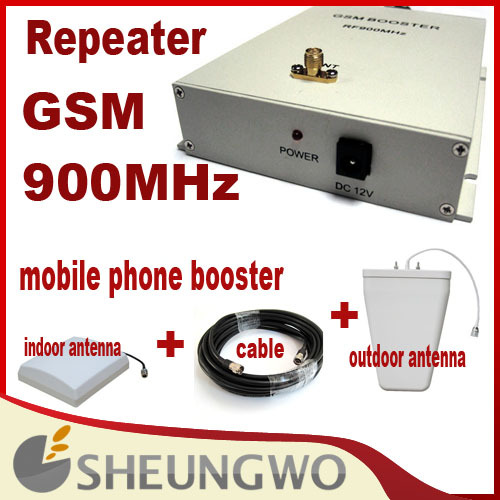 Direct Marketing Mobile phone booster GSM 900MHz High Gain50Dbi coverage 1500square with parts 1sets Free shipping(China (Mainland))
