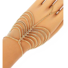 Punk hand chain metal Multilayer ring connected bracelets in one with finger gold tassle slave bracelet ring for women CB093
