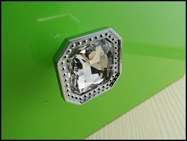 10Pcs Modern Fashion  Diamond Glass Chrome Cabinet Drawer Knobs Pull Handle New  (Diameter: 32MM)