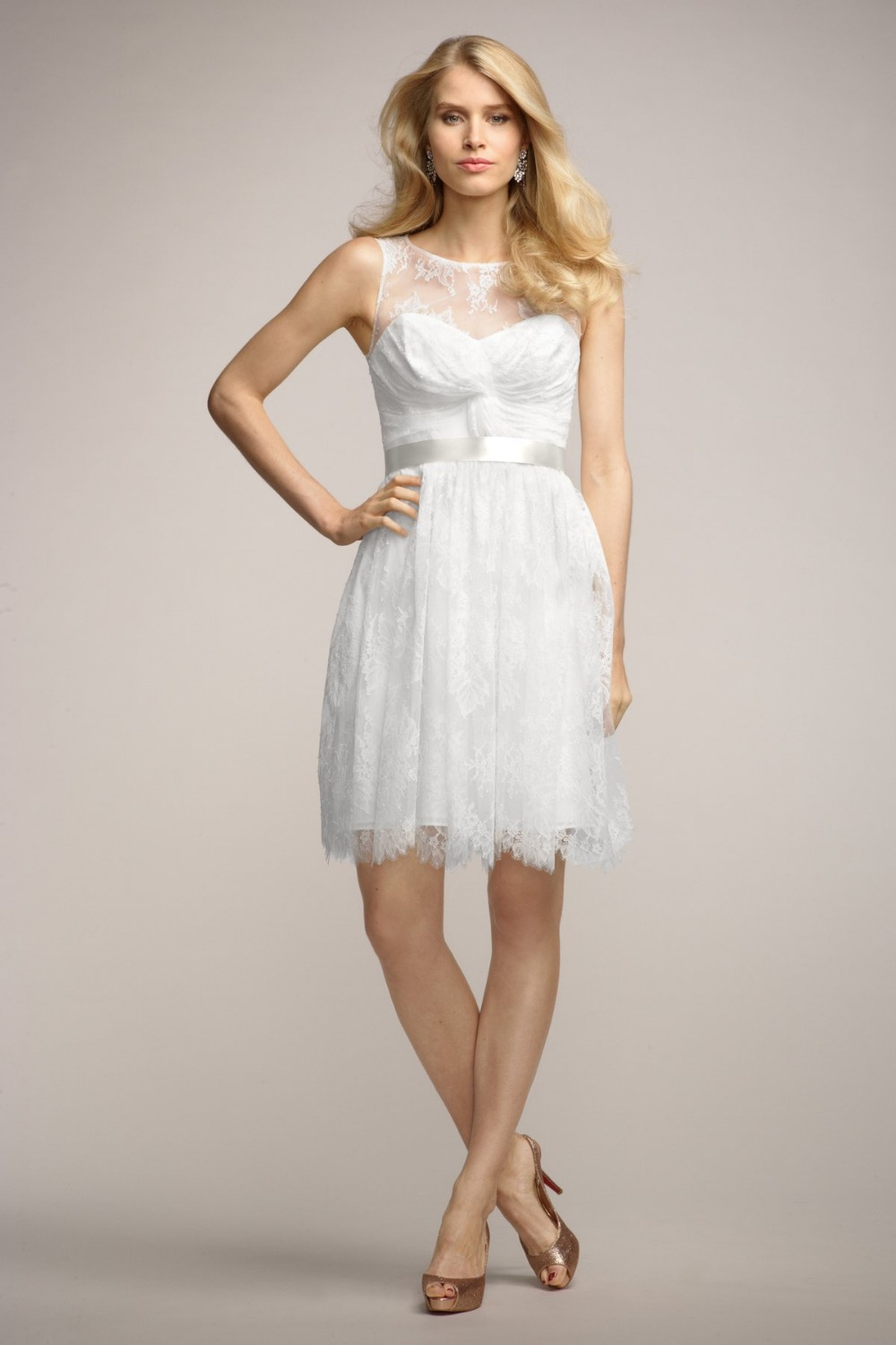 Prom dresses 2015 sexy scoop bow white ivory formal cheap for Ivory knee length wedding dresses