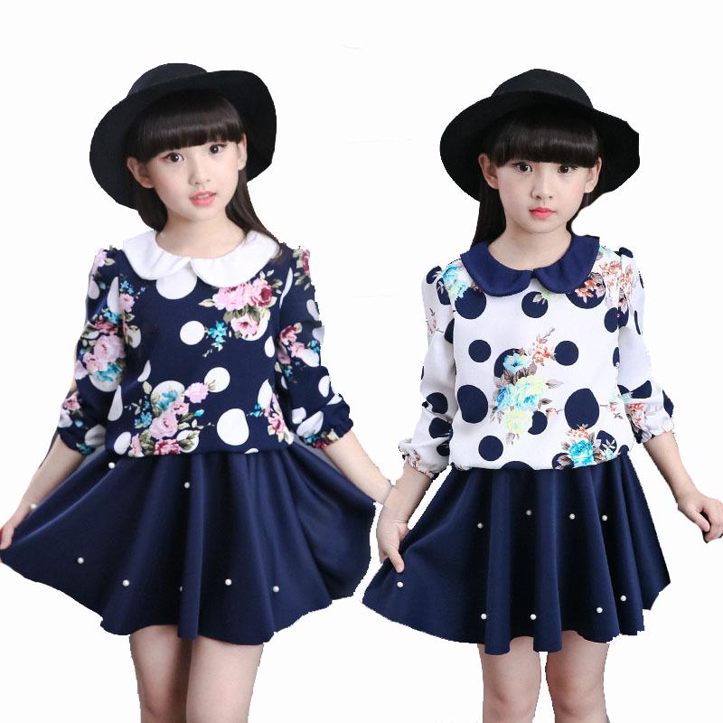 Kids Girls Dresses Floral Print Long Sleeve Girls Clothing Spring Autumn Causal Dot Children Girls Dresses For 4 5 6 7 12 Years(China (Mainland))