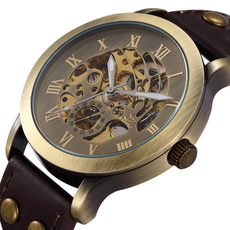 2014 new fashion brand design men business clock stylish casual skeleton steel mechancal self wind wrist luxury watch cool gift<br><br>Aliexpress