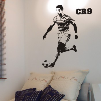 Free Shipping Home Decor Boy's Room football star fans Cristiano Ronaldo wall stickers wall decals100 x 58cm(China (Mainland))