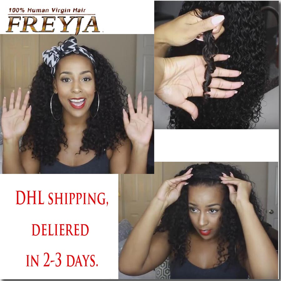 Фотография 7A Grade Glueless Peruvian Full Lace Human Hair Wigs Kinky Curly Lace Front Wigs For Black Women Human Hair U Part Wig