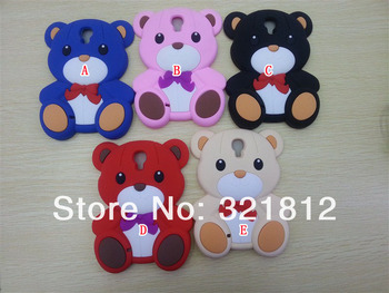 3D Teddy Bear Soft case For samsung Galaxy SIV S4 I9500 Cartoon Cute Bow silicone Bowknot lovely cases back skin 100PCS DHL
