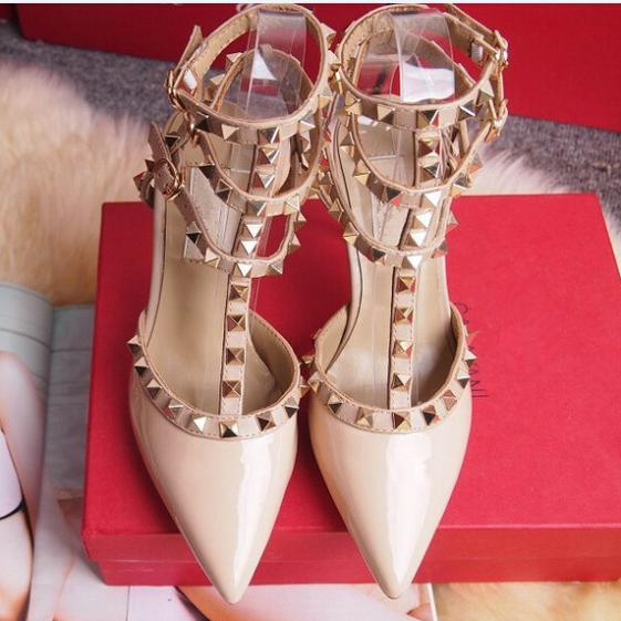 Hot sell 8cm/10cm sexy buckle strap women pumps 2014 pointed toes high heels sandals rivets rockstuds valentin shoes for women(China (Mainland))