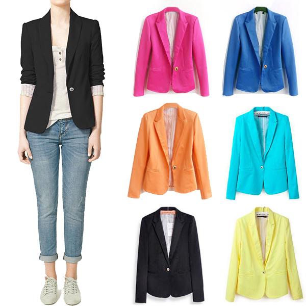 [yyw] 2015 Casual Women Blazer Feminino Chaquetas Mujer Jackets Suit One Button Slim Ladies Work Wear Blaser Feminino Plus Size(China (Mainland))