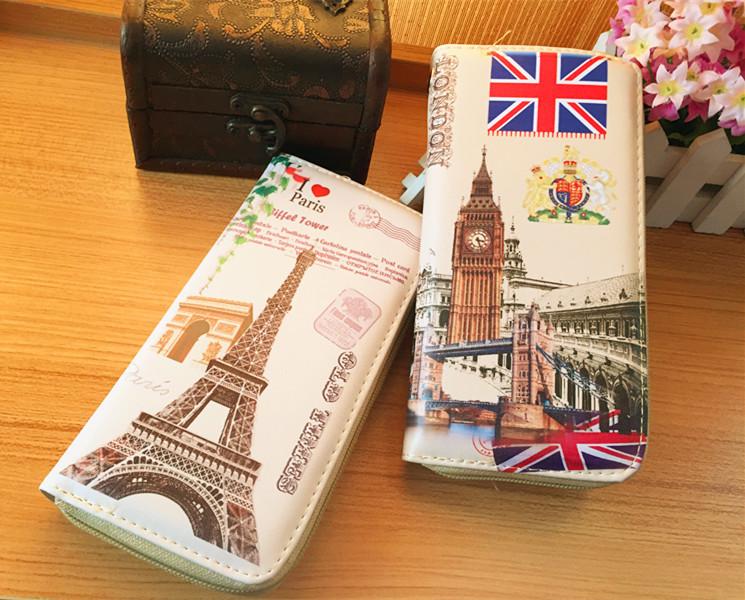 Fashion Europe Retro Style Eiffel Tower Women's Wallet Big Ben Covered Button Card Slot Package Handbag Purse - Sesame open shop store