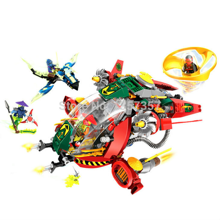 LELE 79122 Ninja Minifigures Flying rotary super aircraft assembly Building Blocks Sets Model Toys Bela 10398