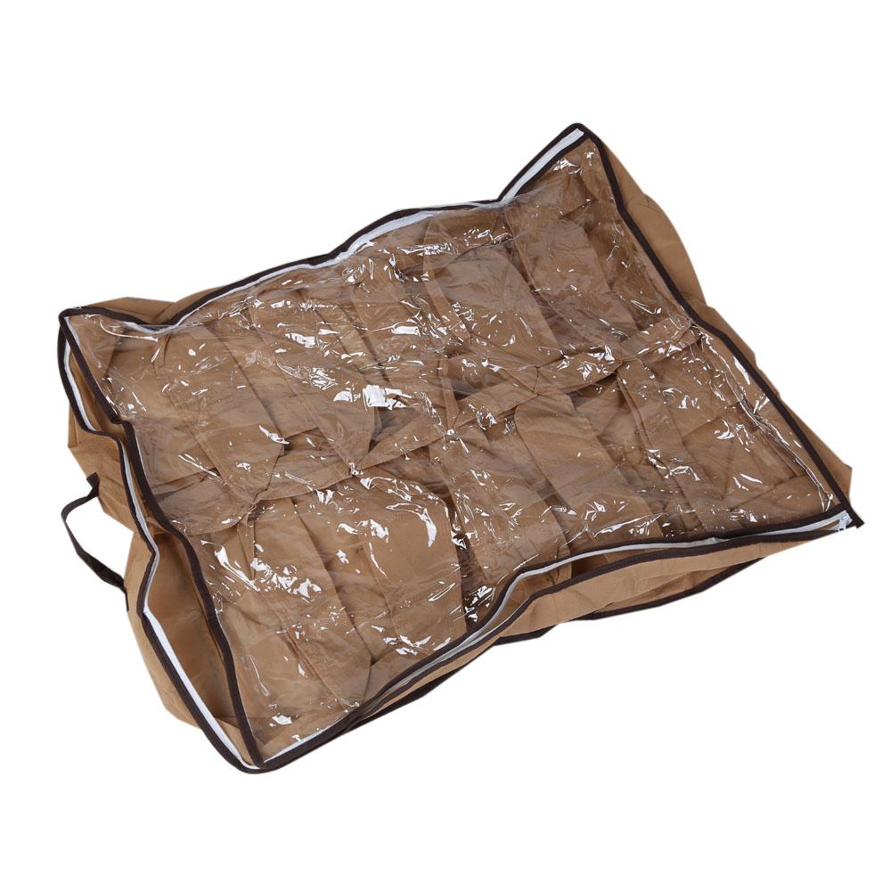 12 Pair Practical Foldable Shoes Storage Box Transparent Case Shoes Holder Box Organizer Under Bed Drawer 70 * 55 * 13cm(China (Mainland))