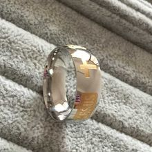large size 8mm 316 Titanium Steel 18K white yellow gold plated jesus cross Letter bidle silver wedding band ring men women