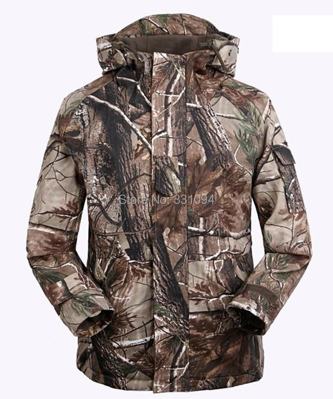 High quality Leaf Camouflage Men Outdoor Jackets Outdoor Winter Thermal Sports Outerwear Coats Cotton fabric with Fleece Lining
