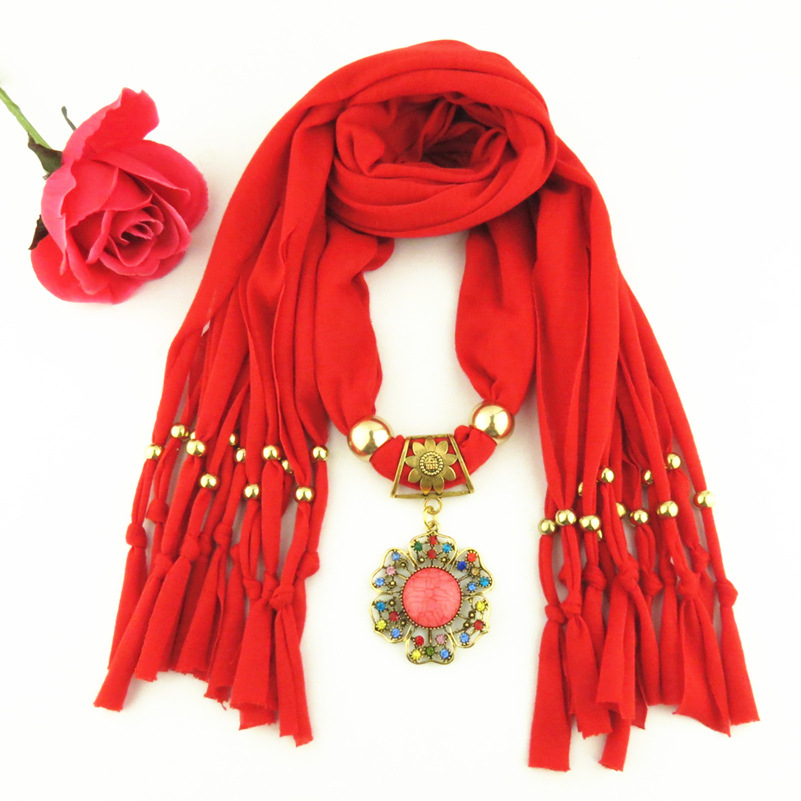 2015 New Arrival Charms Scarf Flower Pendant Scarf Jewelry jersey Scarves Necklace Scarf Free Shipping(China (Mainland))