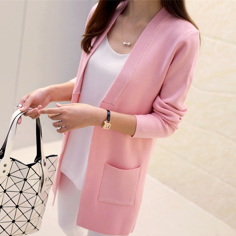 new high quality women Spring autumn medium-long cardigan new female elegant pocket knitted outerwear sweater cape top(China (Mainland))