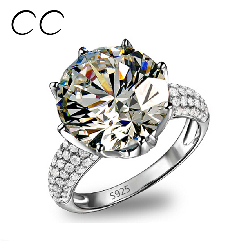8 Carat Diamant Anillo Platinum Plated Big Rings For Women AAA Zirconia Diamant Rings Bague Mariage Femme Engagement Ring CC064(China (Mainland))
