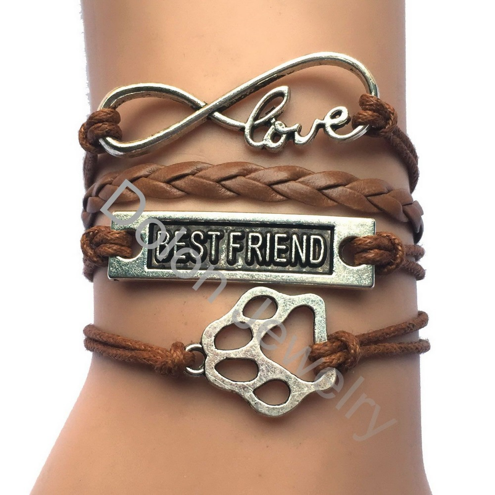 Drop Shipping Animal Paw Prints Jewelry Best Friend Infinity Love Charm Wrapped by Leather Rope Dog Cat Paw Bracelets(China (Mainland))
