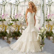 High Quality New Fashion Lace Mermaid Champagne and Ivory Wedding Dresses Off The Shoulder Bridal Gown Custom Size(China (Mainland))