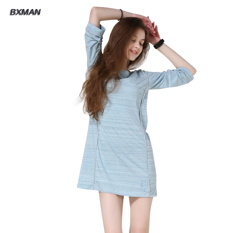 BXMAN Two Colors Nightgowns Striped 95% Cotton O-Neck Three Quarter Sleeve Mini Nightshirts Homewear 310(China (Mainland))