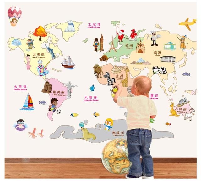 Мультфильм карта мира стикер стены для детской комнаты детская ZY9112 творческой 3D наклейки домашнего декора поделки мира поездка карта