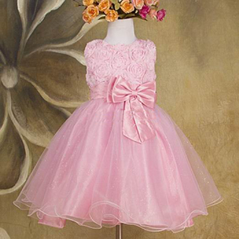 2015 New Girls Dress Princess Dress Children's Wear Formal Party Veil Big Bow Girl Wedding Flower Baby Girls Dress Pink White(China (Mainland))