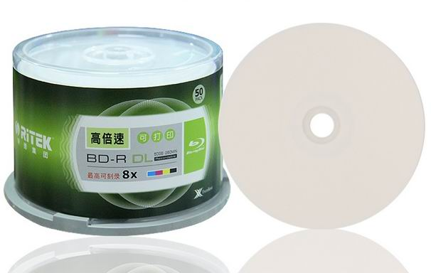 free shipping Ritek BD-R 50GB blue ray Disc inkjet Printable 8X 50pack(China (Mainland))