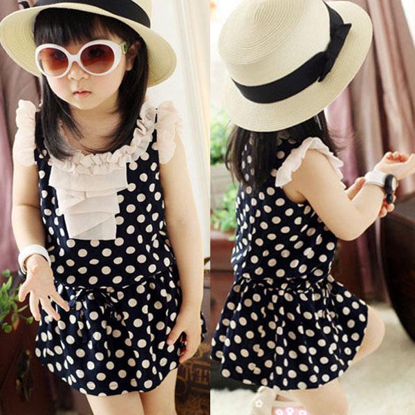 Best Price 2014 Girls Kid Dresses Chiffon Dots Dress Ruffled Sundress Clothes 1-6Y Summer Dress